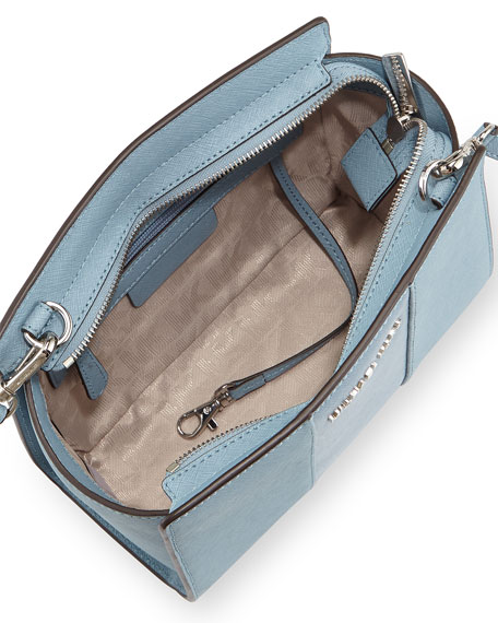Selma Medium Metallic Center-Stripe Saffiano Messenger Bag, Powder Blue 86a3f64d7a