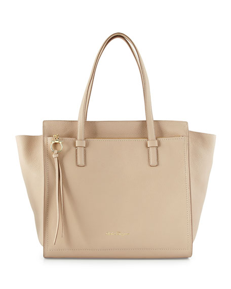Salvatore Ferragamo Amy Large Tote Bag, New Bisque/Gold