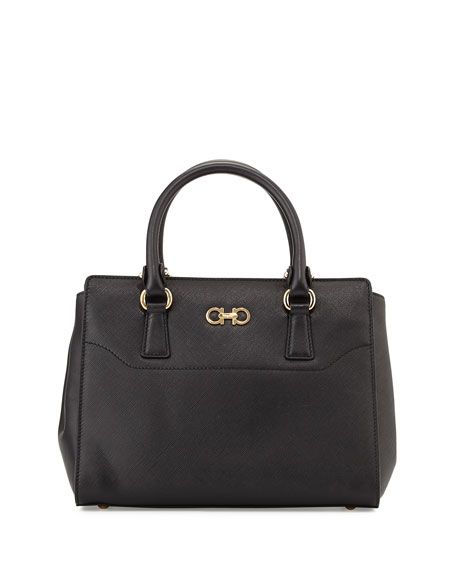 Salvatore Ferragamo Beky Medium Saffiano Tote Bag, Nero