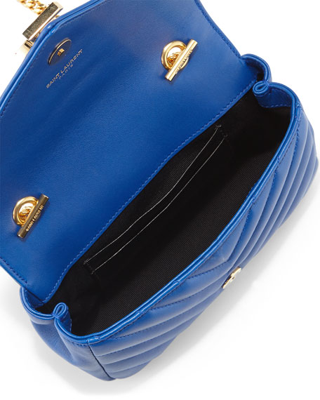 7eb43af1544 Saint Laurent V Flap Lambskin Leather Mini Crossbody Chain Bag, Blue |  Neiman Marcus