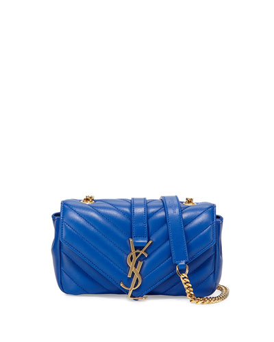 V Flap Lambskin Leather Mini Crossbody Chain Bag, Blue