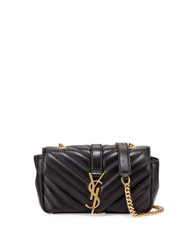 V Flap Lambskin Leather Mini Crossbody Chain Bag, Black