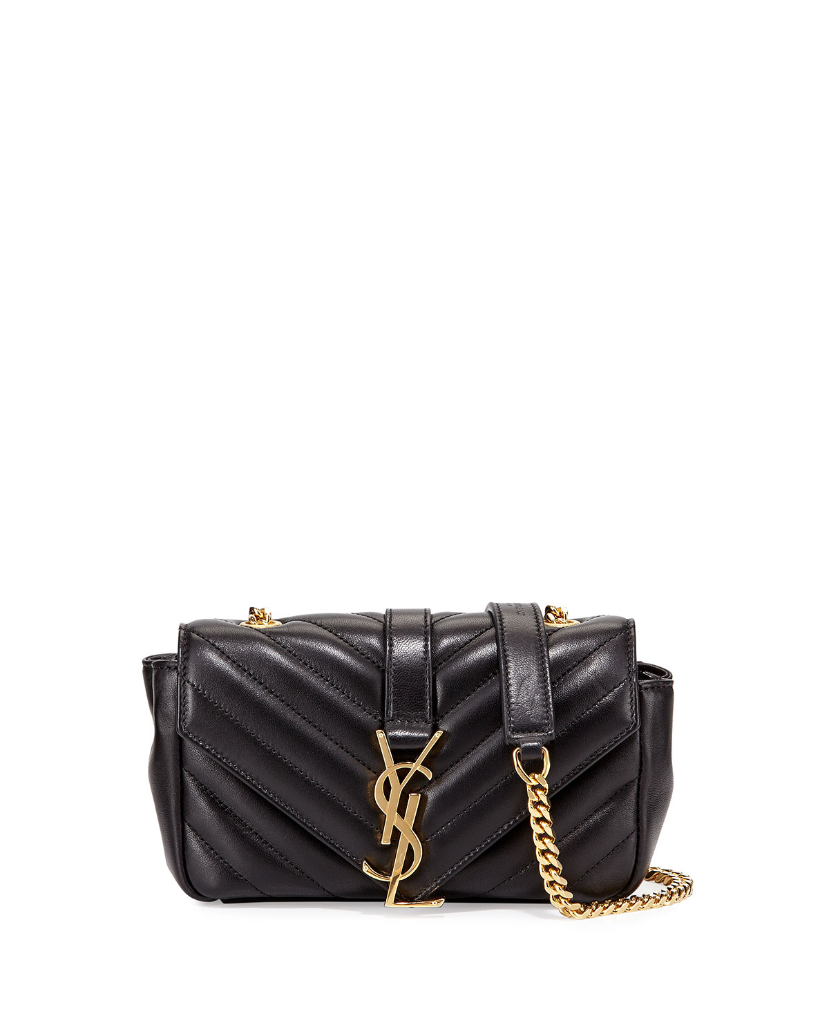 45644acad310 Saint Laurent V Flap Lambskin Leather Mini Crossbody Chain Bag ...
