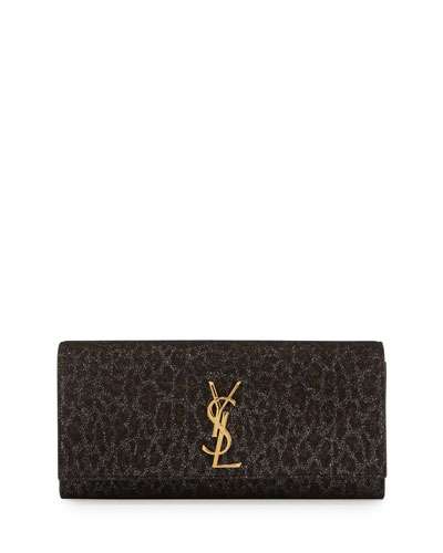 Monogramme Leopard-Print Clutch Bag, Black