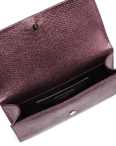 Monogram Snake-Embossed Tassel Clutch Bag, Purple