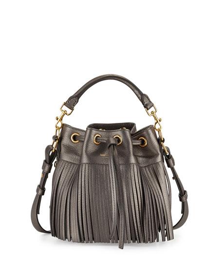 Saint Laurent Emmanuelle Fringe Metallic Small Bucket Bag,