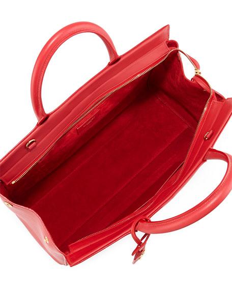 Saint Laurent Monogram Large Calf Zip-Top Tote Bag, Red