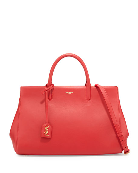 Saint LaurentMonogram Large Calf Zip-Top Tote Bag, Red