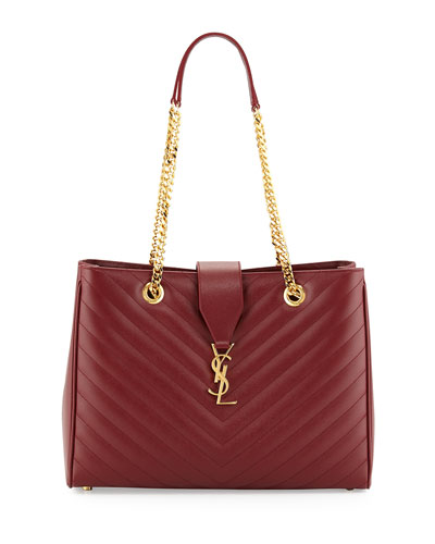 Monogramme Medium Matelasse Calf Chain Tote Bag, Dark Red