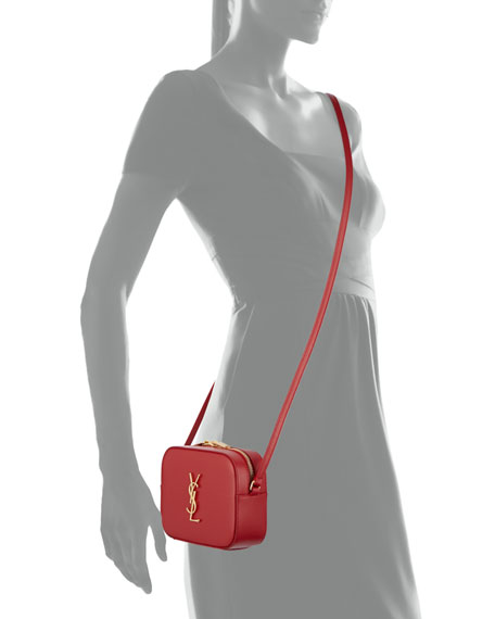 Monogram Camera Small Calf Crossbody Bag, Red