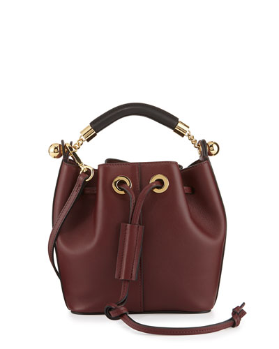 Gala Small Calf Leather Bucket Bag, Bordeaux