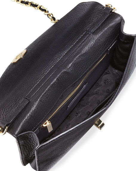 Kira Leather Envelope Clutch Bag, Black