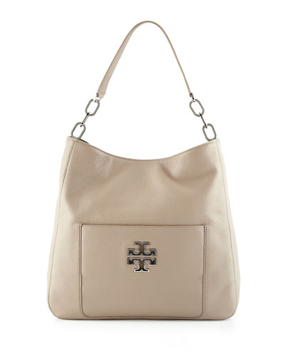 Britten Leather Hobo Bag, French Gray