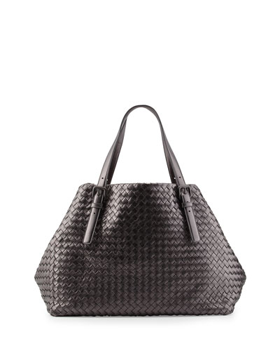 A-Shape Large Woven Tote Bag, Pewter