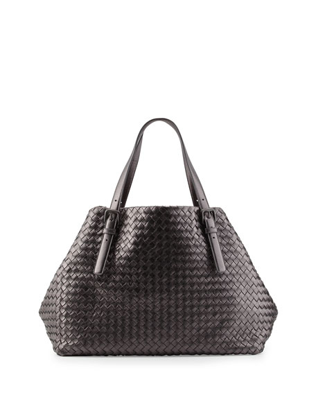 Bottega Veneta A-Shape Large Woven Tote Bag, Pewter