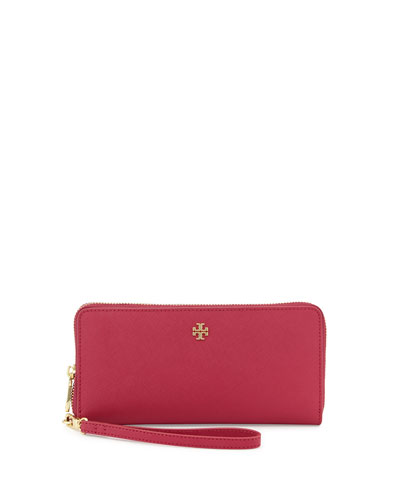 York Zip-Around Passport Continental Wallet, Raspberry