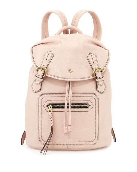 Jaylin Leather Backpack, Misty Rose