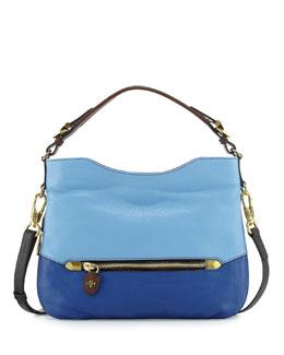 Ellie Leather Hobo Bag, Sky Multi