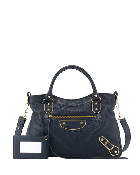 BalenciagaEdge Town Goatskin Satchel Bag, Dark Sea