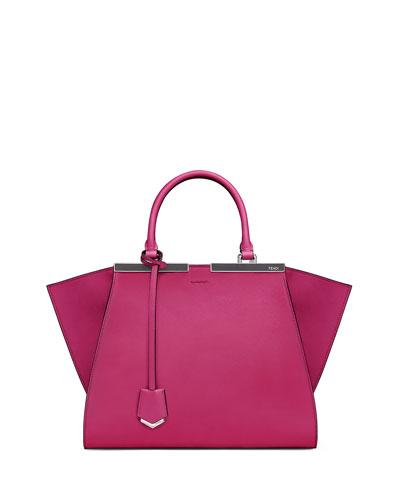 Trois-Jour Petite Leather Bicolor Tote Bag, Magenta/Gray