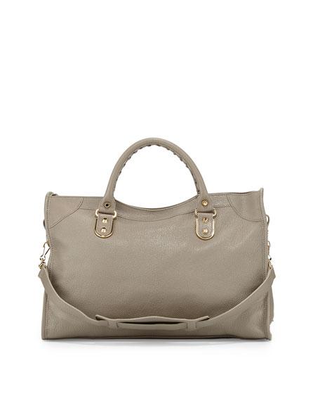 Metallic Edge City Bag, Gray