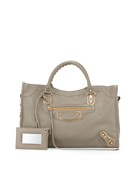 Balenciaga Metallic Edge City Bag, Gray