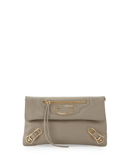 Balenciaga Metallic Edge Envelope Crossbody Bag, Gray