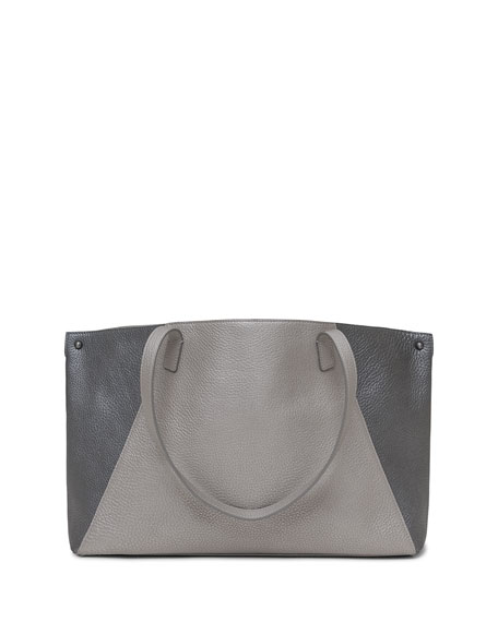 Ai Small Cervo Leather Shoulder Tote Bag, Silver Metallic