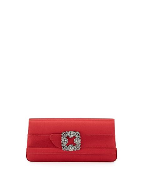 Manolo Blahnik Gothisi Satin Buckle Clutch Bag, Red