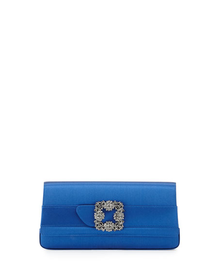 Manolo Blahnik Gothisi Satin Buckle Clutch Bag, Blue