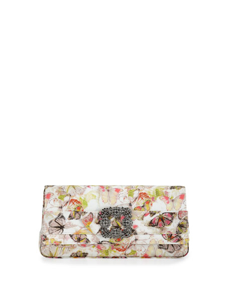 Manolo Blahnik Gothisi Butterfly Fabric Buckle Clutch Bag,