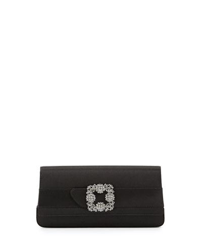 Gothisi Satin Buckle Clutch Bag, Black