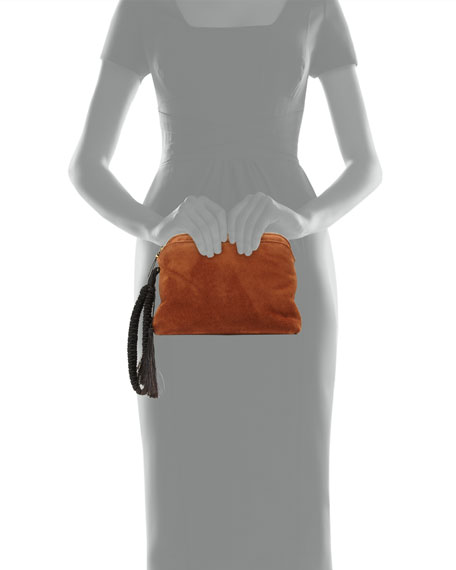 Suede Braided-Strap Wristlet Pouch Bag, Saddle