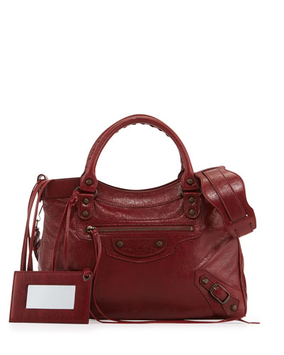 Classic Town Lambskin Satchel Bag, Red