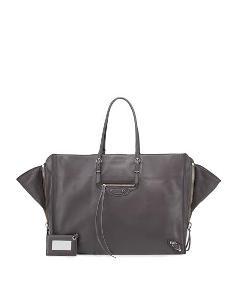 Balenciaga Papier A4 Leather Zip-Trim Tote Bag, Gray
