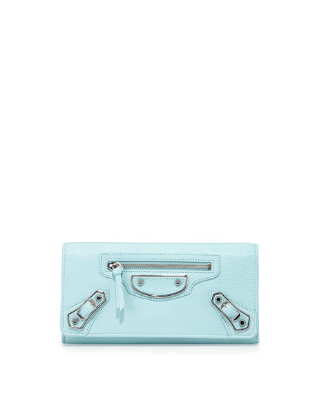 Balenciaga Edge Goatskin Money Wallet, Light Blue