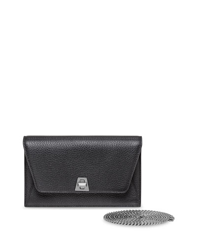 Anouk  Leather Clutch Bag w/Chain, Gray Metallic