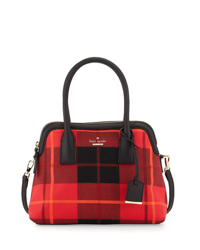 cameron street plaid maise satchel bag, cherry liqueur