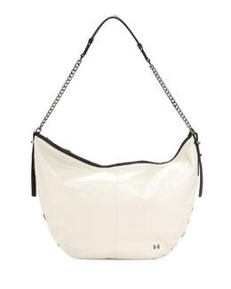 Two-Tone Leather Hobo Bag, Dark Bone