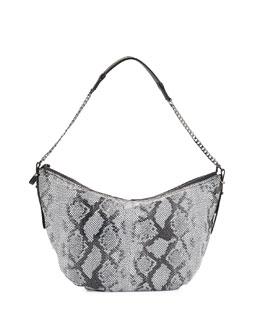 Snakeskin-Embossed Leather Hobo Bag, Black Multi