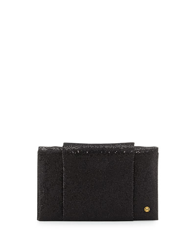Leather Sparkle Wallet Evening Clutch Bag, Black