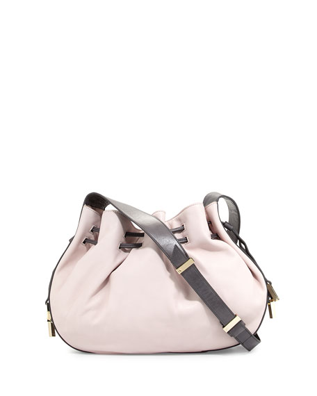 Two-Tone Leather Bucket Bag, Barely Pink