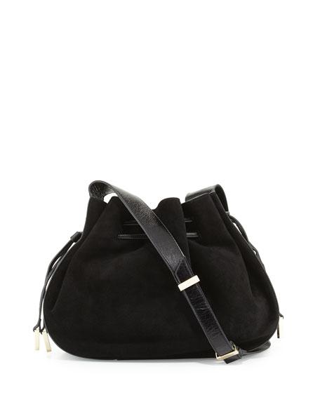 Halston Heritage Glazed Leather   Suede Bucket Bag 92f2d04bab990