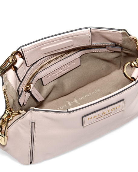 Two-Tone Leather Crossbody Bag, Barrel Pink