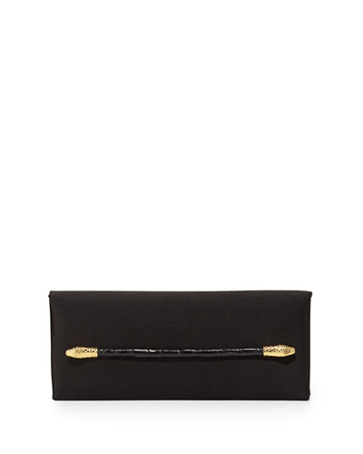 Satin Clutch Bag w/Snake Motif, Black