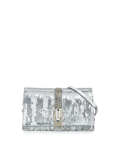 Small Zip-Front Sequin Karung Crossbody Clutch Bag, Silver