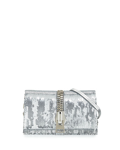 TOM FORD Small Zip-Front Sequin Karung Crossbody Clutch