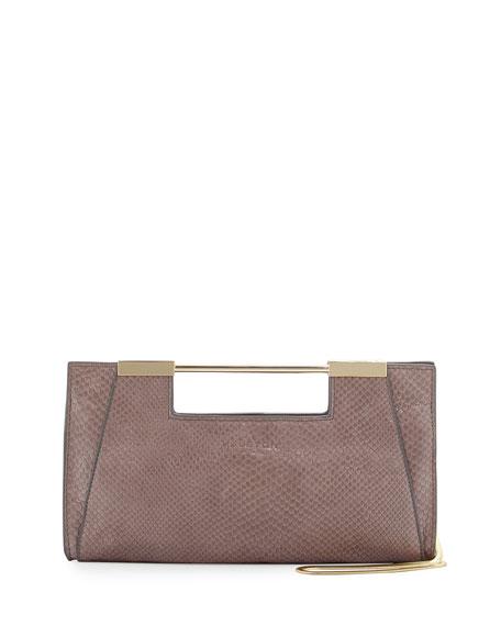Lizard-Embossed Leather Evening Clutch Bag, Dark Gravel
