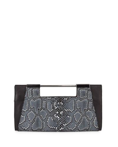 Mosaic Python-Embossed Leather Clutch Bag, Black Multi