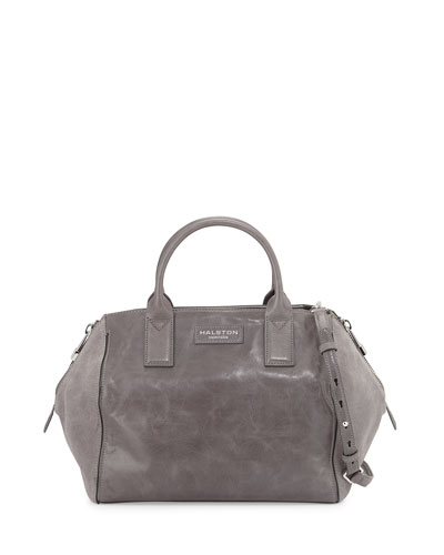 Glazed Leather & Suede Satchel Bag, Dark Gravel